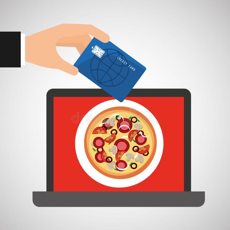 Shoppa online-begreppsbeställningspizza stock illustrationer