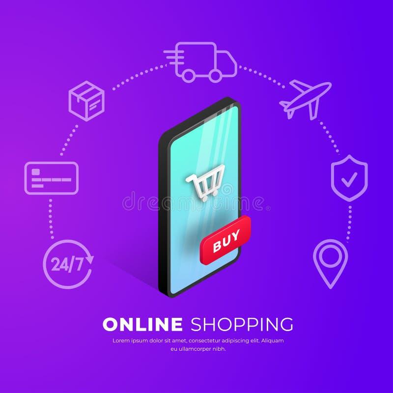 Shoppa online-begreppssmartphonesymboler royaltyfri illustrationer
