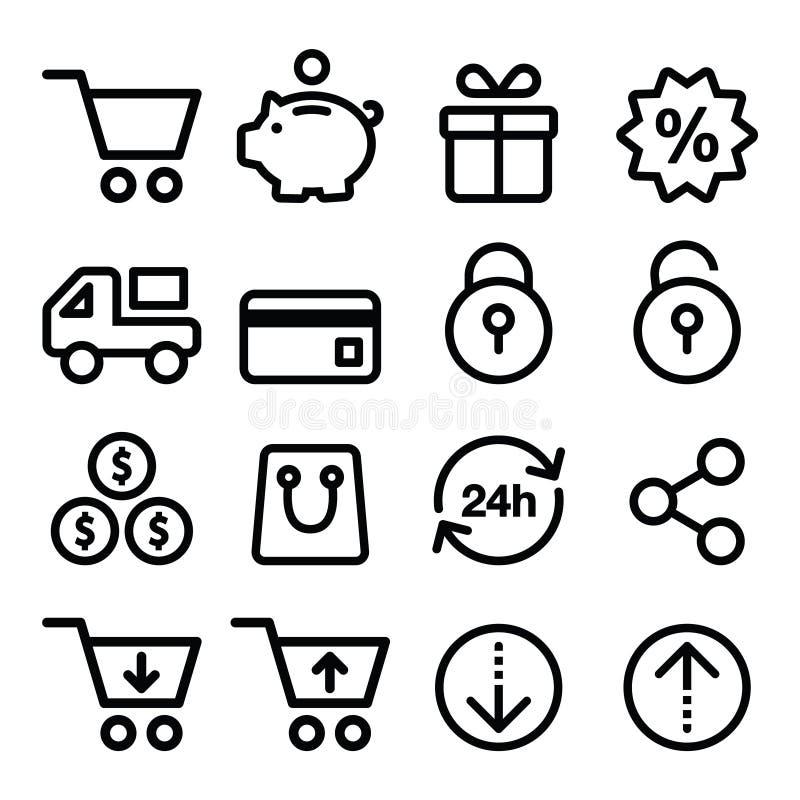 Shoppa online-fodrar slår inställda lagersymboler, stil royaltyfri illustrationer