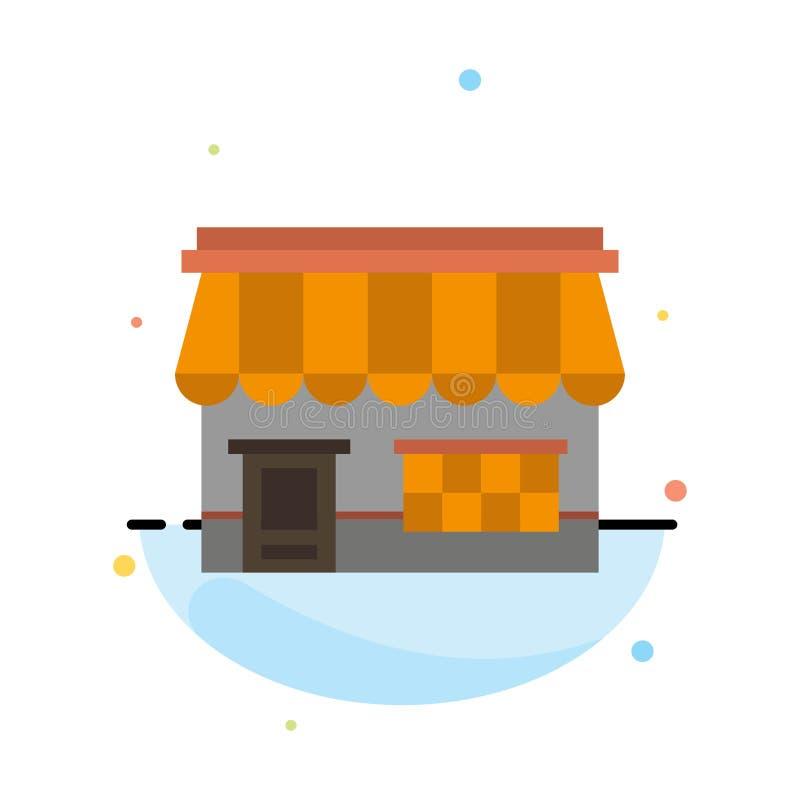Shoppa online-, marknaden, lagret som bygger den abstrakta plana färgsymbolsmallen stock illustrationer