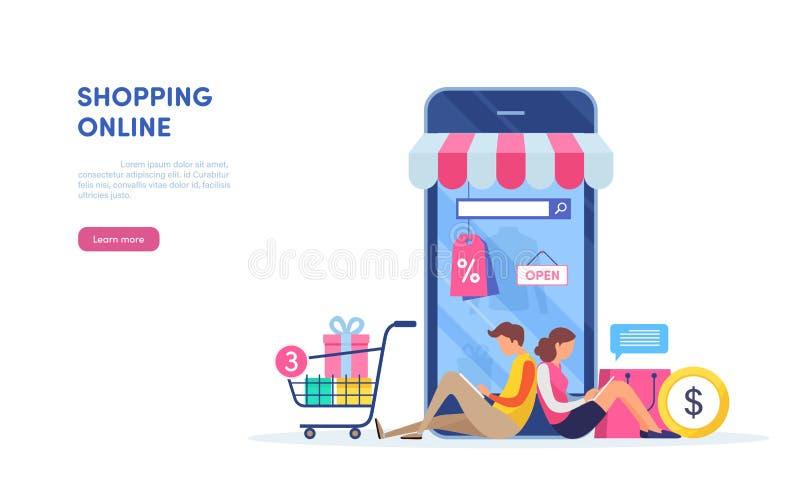 Shoppa på mobil Bärbar dator med markisen Guld- text på mörk bakgrund Online-betalning Miniatyrillustrationvektor för plan teckna royaltyfri illustrationer