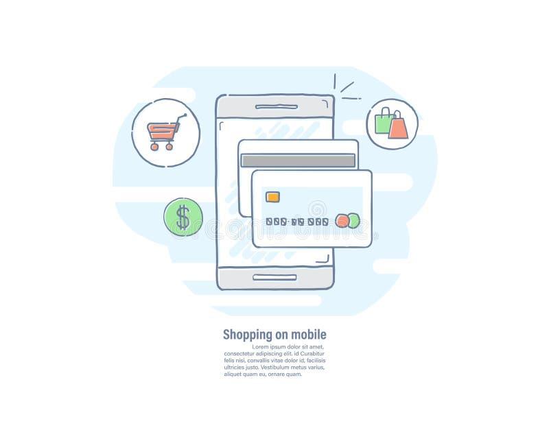 Shoppa på mobilt begrepp Smartphone med kreditkorten Online-betalning Dragen linje lägenhetdesign för vektorillustration hand stock illustrationer