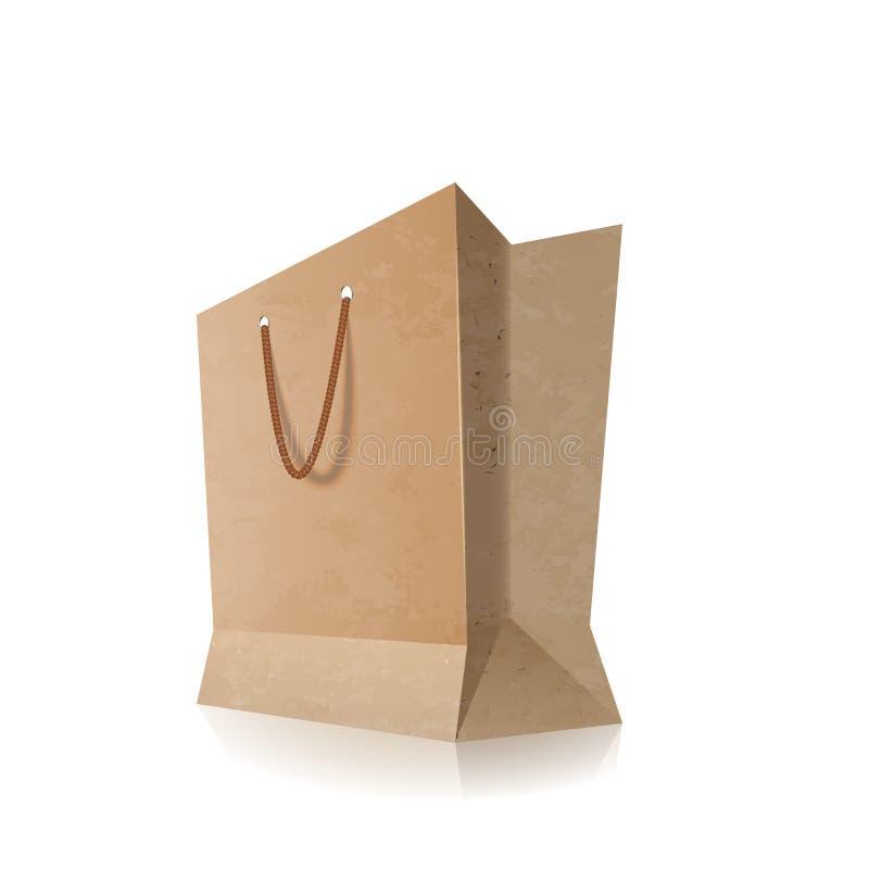 Shoppa papperspåsen med tomma handtag, isolerat på vit royaltyfri illustrationer