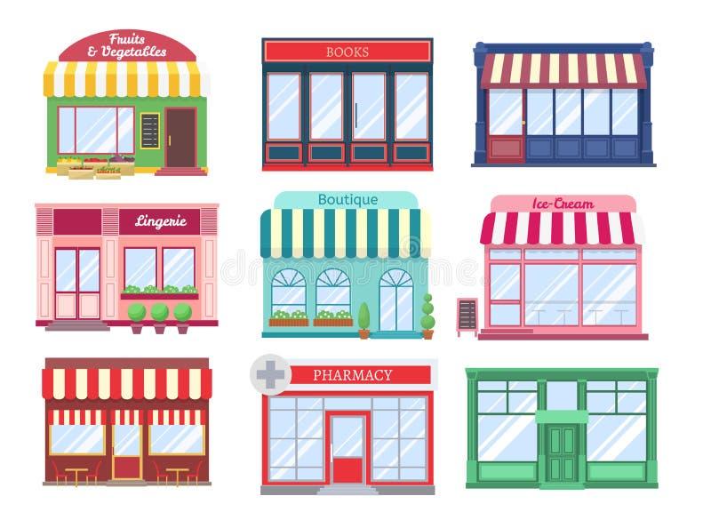 Shoppa plana byggnader Hus för restaurang för skyltfönster för modern för lagerfasadtecknad film gata för boutique byggande Shopp stock illustrationer