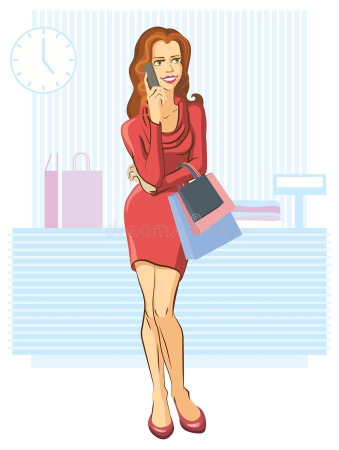 shoppa som är lyckat vektor illustrationer