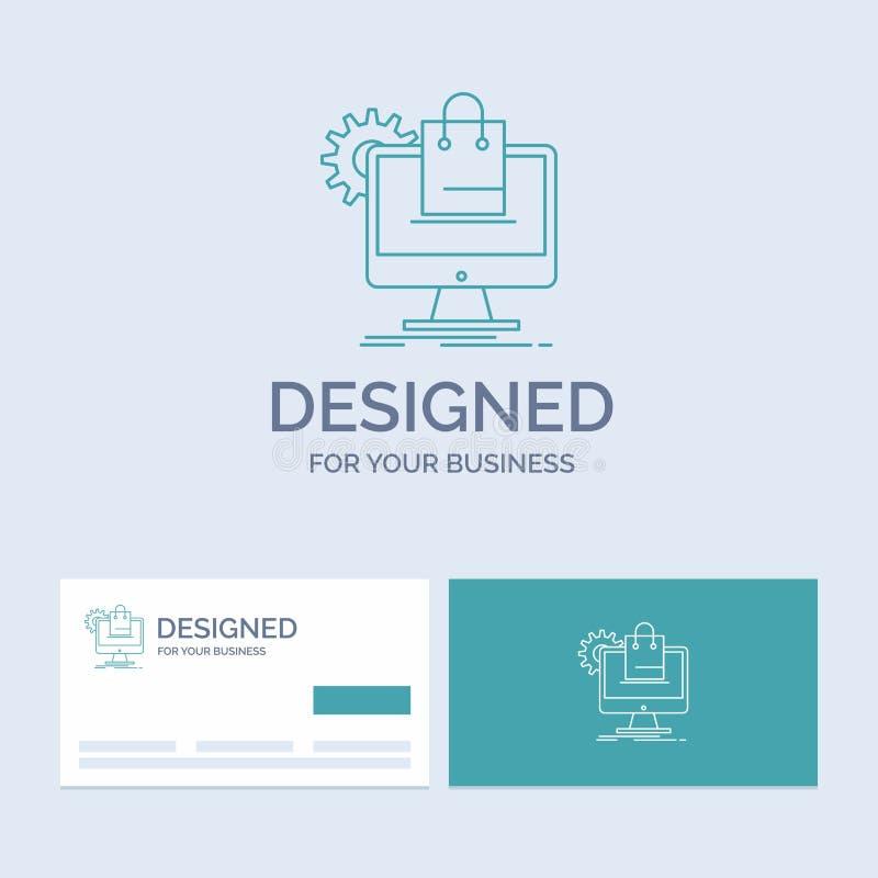 shoppa som är online-, ecommerce, service, vagnsaffär Logo Line Icon Symbol för din affär Turkosaff?rskort med m?rke royaltyfri illustrationer
