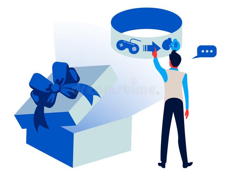 Shoppa som är online- - färgrik illustration för plan designstil Högkvalitativ sammansättning med det gulliga teckenet vektor illustrationer