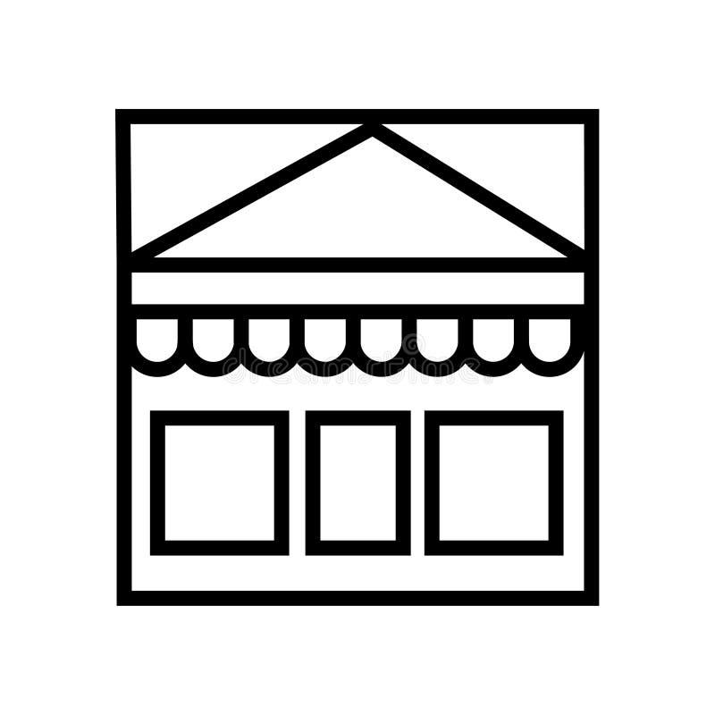 Shoppa symbolen som svarta linjära shoppar symbolen för vektorillustrationsymbolet royaltyfri illustrationer