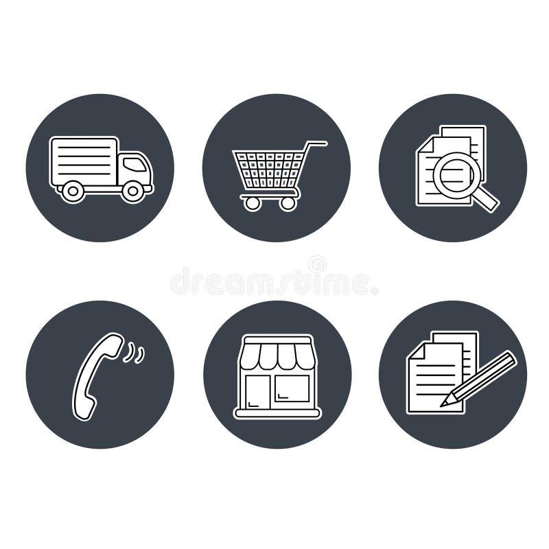 Shoppa symboler, navigering - diversehandeln, hur man inhandlar uttryck och villkor, kontakt, undertecknar in och registrerar och vektor illustrationer