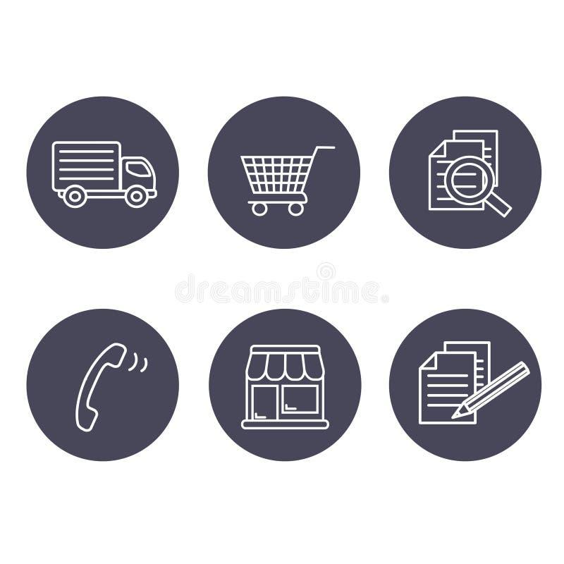 Shoppa symboler, navigering - diversehandeln, hur man inhandlar uttryck och villkor, kontakt, undertecknar in och registrerar och stock illustrationer