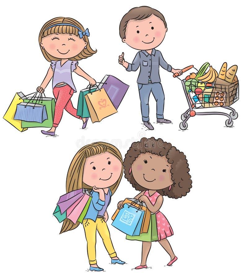 Shoppa ungar royaltyfri illustrationer