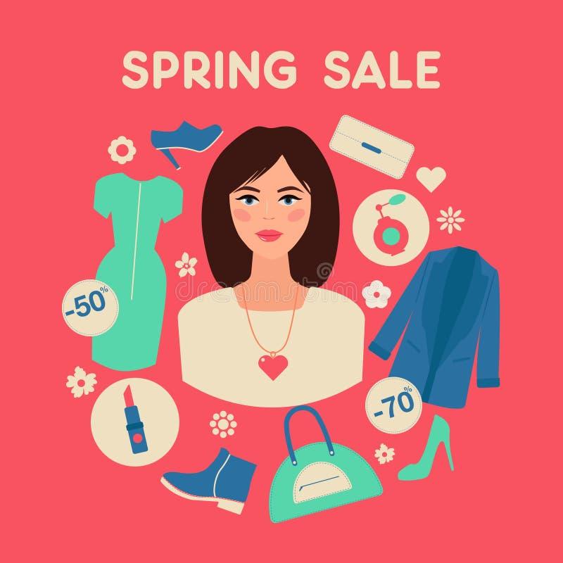 Shoppa våren Sale i plan design med kvinnan stock illustrationer