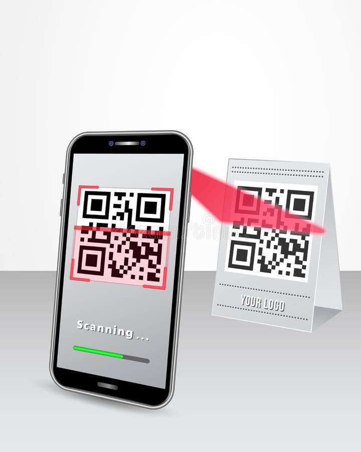 Shoppar cashless betalning för QR-koden via den smarta telefonen på stock illustrationer
