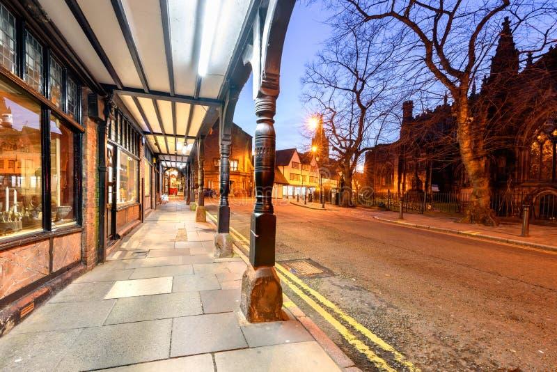Shoppar Chester Town UK royaltyfria bilder