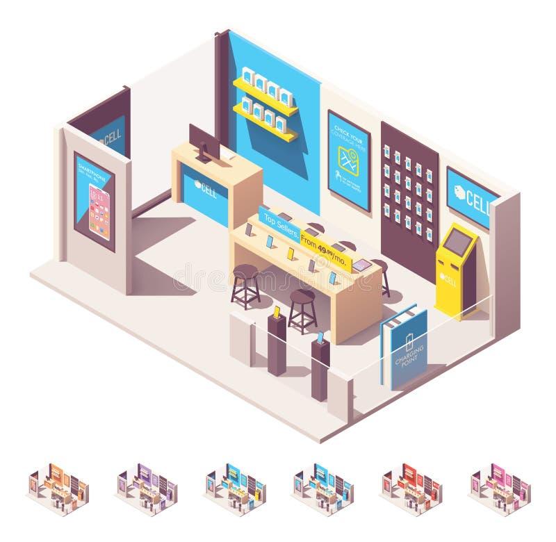 Shoppar den isometriska mobiltelefonoperatören för vektorn royaltyfri illustrationer