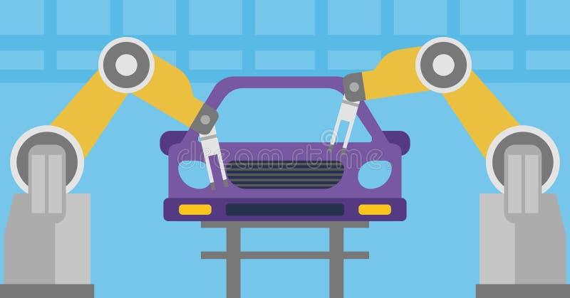 Shoppar den monterande bilen för den Robotic armen i enhet stock illustrationer