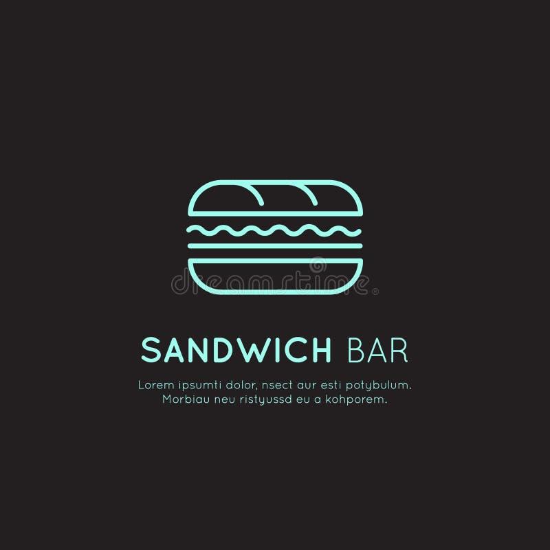 Shoppar den syrliga logoen för neon av snabbmat, den stads- ställe-, burrito-, hamburgare-, smörgås- eller varmkorvstången royaltyfri illustrationer