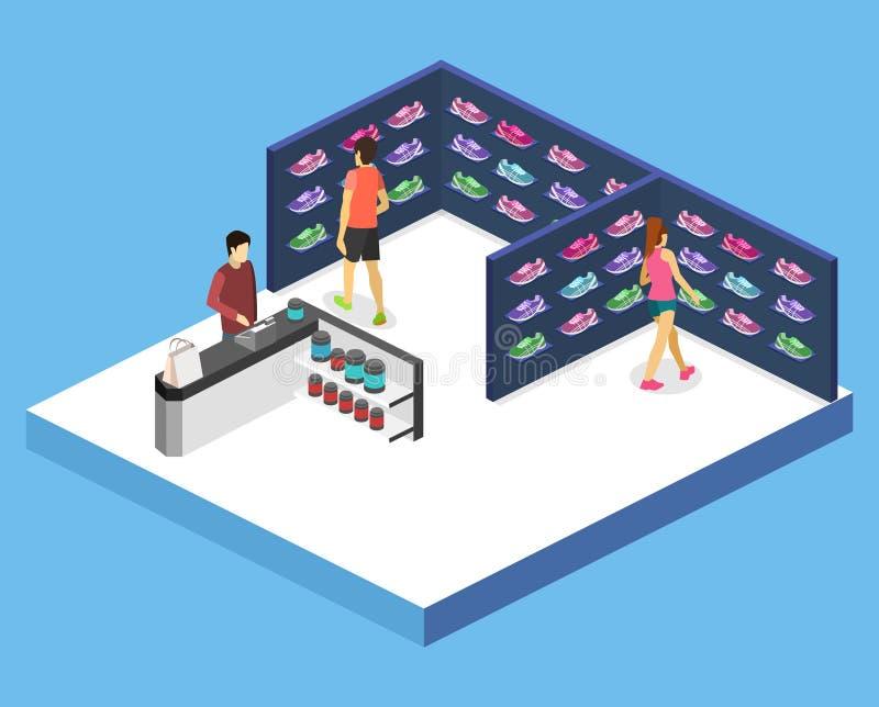 Shoppar det inre godset för den isometriska vektorn för lägenheten 3D för sportarna vektor illustrationer