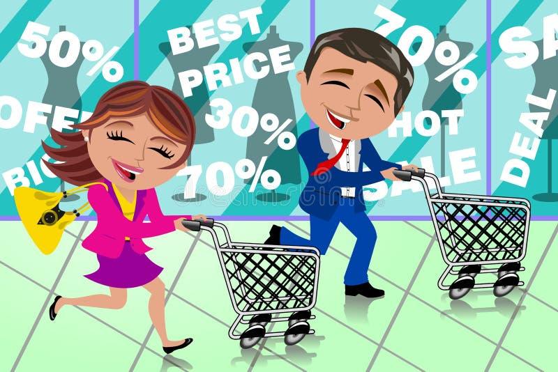 Shoppar det rinnande shoppa Sale för par fönstret vagnen royaltyfri illustrationer