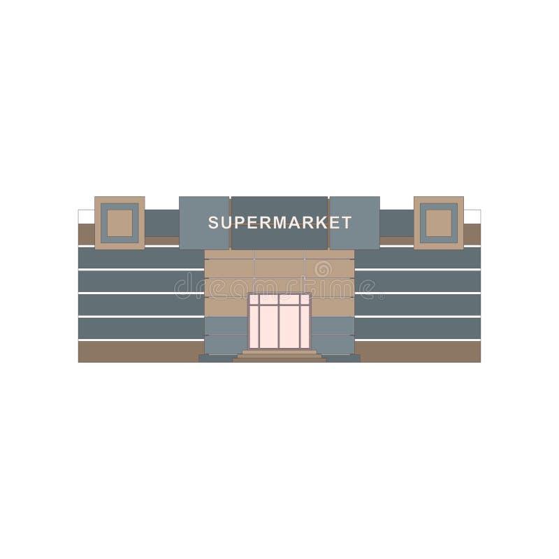 Shoppar diversehandel, och supermarketbyggnader sänker den dekorativa isolerade vektorillustrationen för symboler uppsättningen stock illustrationer