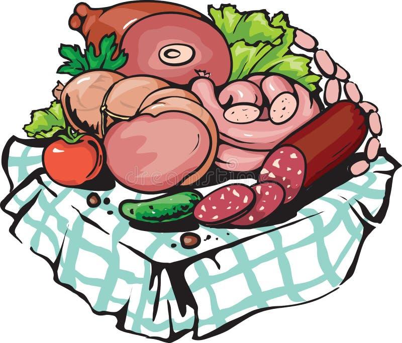 Shoppar gastronomiska köttprodukter för vektorn, slaktare i tecknad filmstil vektor illustrationer