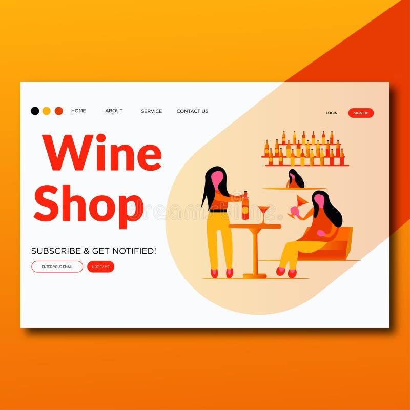Shoppar modernt plant vin för vinshopen- sidan för illustrationvektorlandning royaltyfri illustrationer