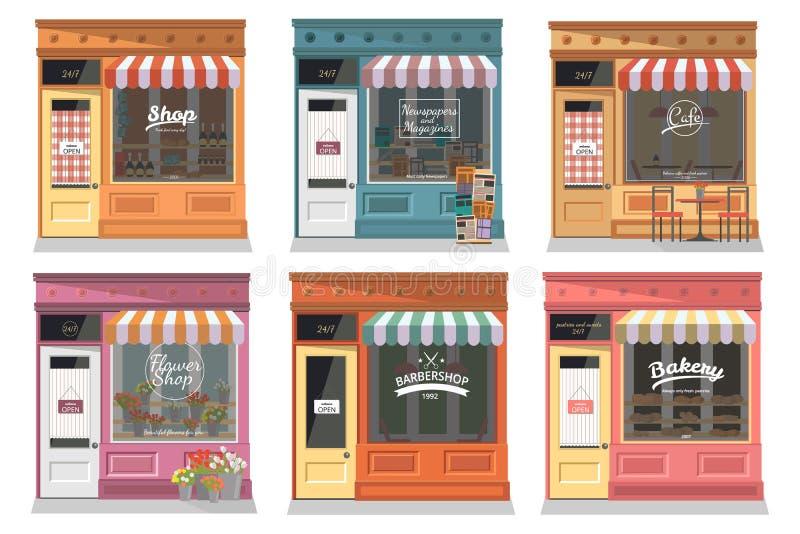 Shoppar och lagrar fasadsymboler ställer in i plan designstil royaltyfri illustrationer