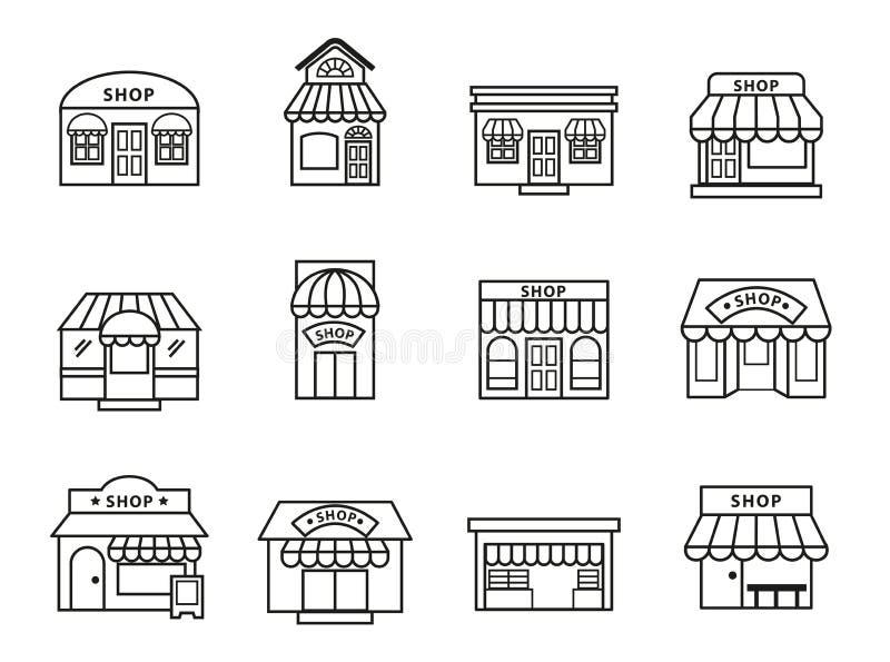 Shoppar och uppsättningen för symboler för diversehandelbyggnad stock illustrationer