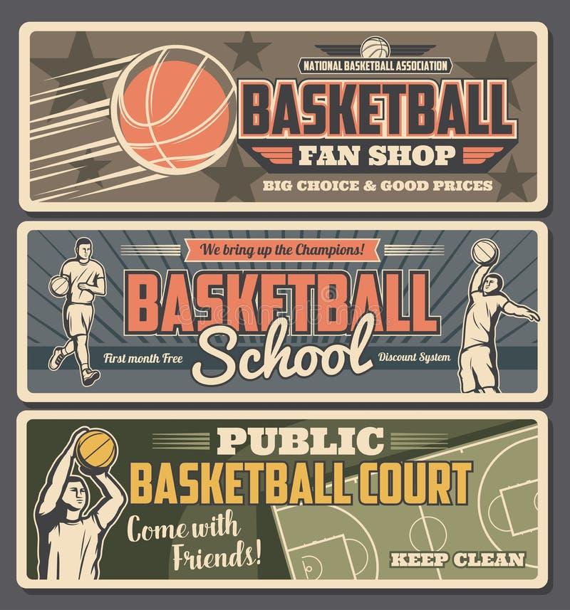 Shoppar skolar uppvaktar den retro banerfanen för basket, eller vektor illustrationer