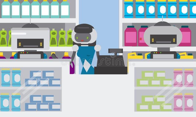 Shoppar smarta deltagare för inhemsk robot på räknaren av gods för hushållkemikalien, apoteket vektor illustrationer