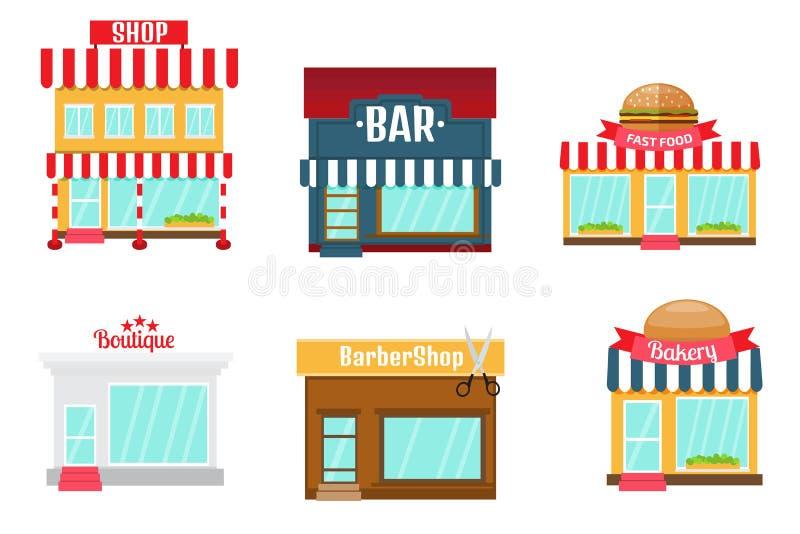 Shoppar symbolsuppsättningen i plan designstil Shoppa-marknad bageri, stångnolla stock illustrationer