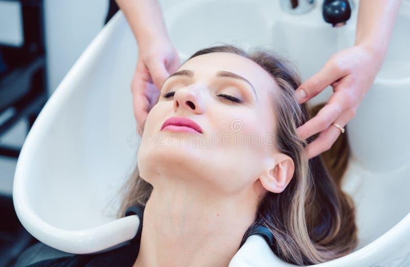 Shoppar tvättande hår för frisören av klienten i hennes royaltyfri fotografi