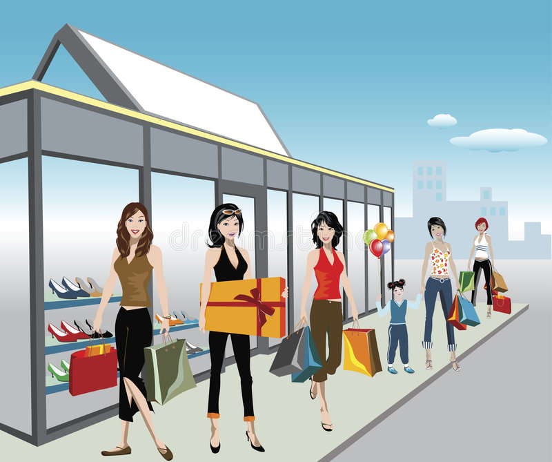 shoppare royaltyfri illustrationer
