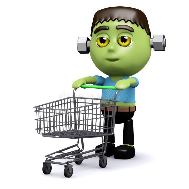 shoppare för 3d Frankenstein stock illustrationer
