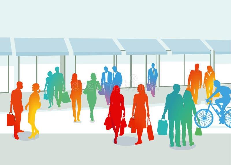 Shoppare i stad royaltyfri illustrationer