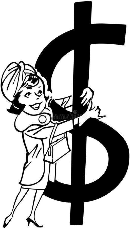 Shoppare med det stora dollartecknet royaltyfri illustrationer