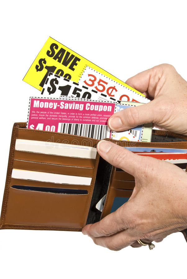 Shoppare med kuponger royaltyfri fotografi