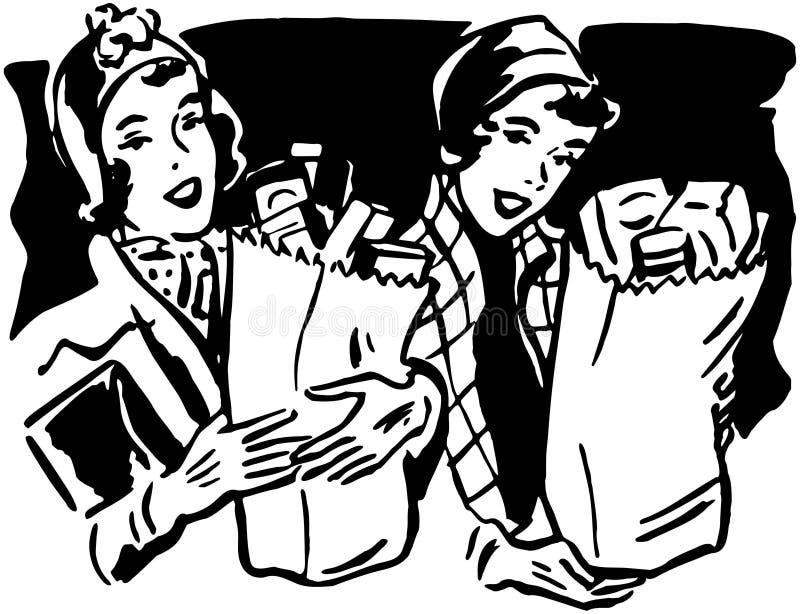 Shoppare med livsmedel 1 vektor illustrationer