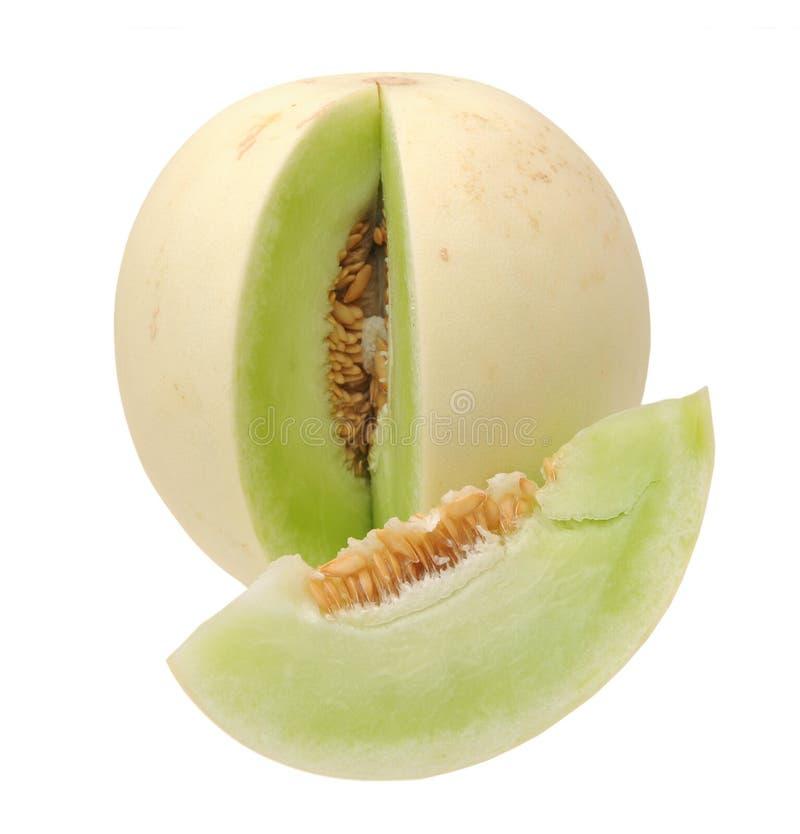 Shopped green melon. Isolated on white background stock photo