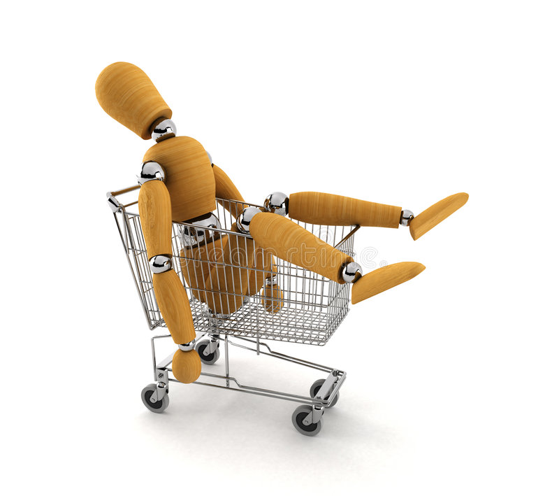 Shopped out. Tired mannequin laying in shopping cart totally shopped out stock images