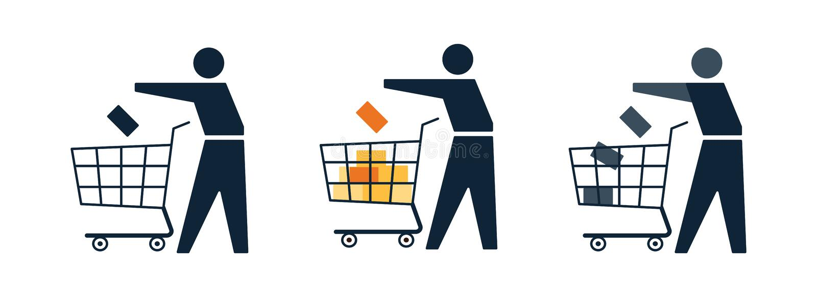 Shopper, customer with cart making shopping in the store. Or shop online. Icon set with people in the market with cart. Part of online store web design royalty free illustration