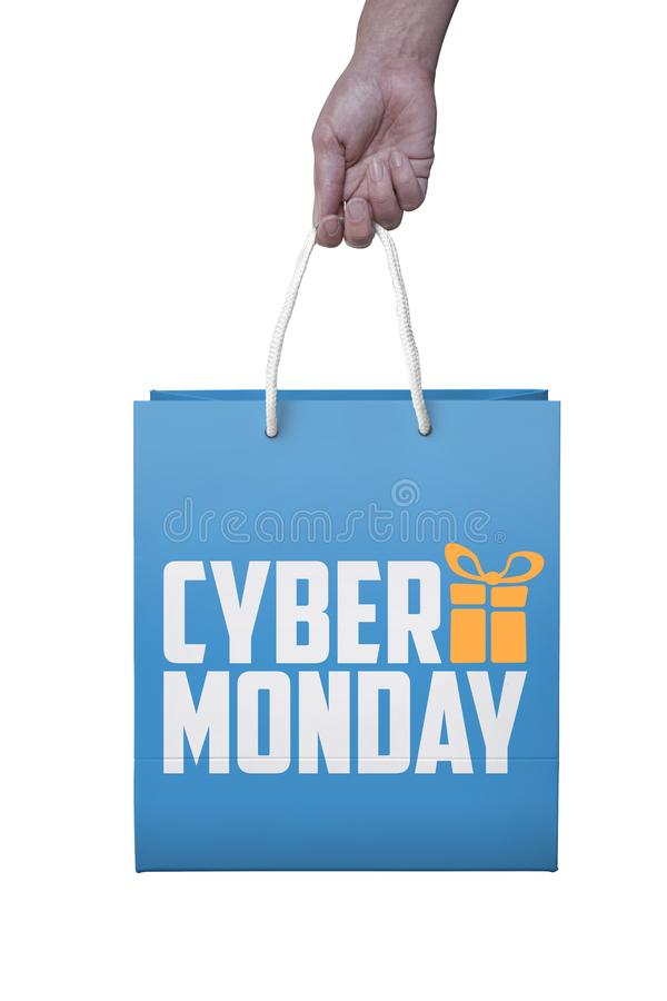 Shopper with cyber monday paperbag, PC mouse, laptop. ticket lab stock photography