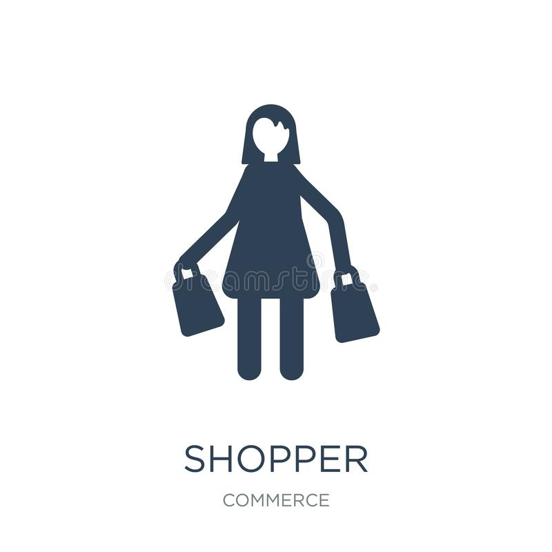 shopper icon in trendy design style. shopper icon isolated on white background. shopper vector icon simple and modern flat symbol stock illustration
