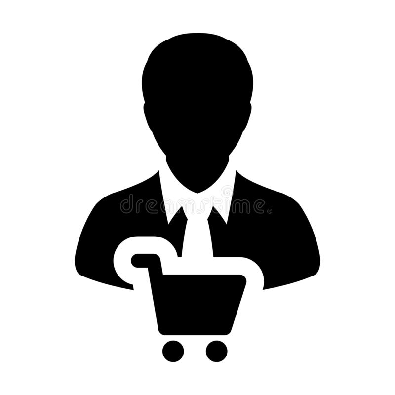 Shopper-Icon-Vektor mit männlichem Kundenprofil Avatar-Symbol für den Einkauf in Glyph Pictogram vektor abbildung