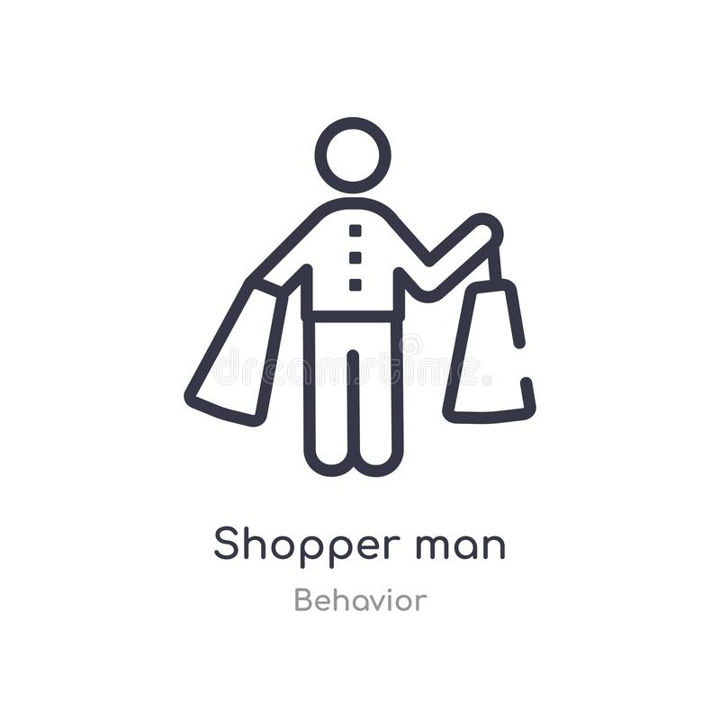 shopper man outline icon. isolated line vector illustration from behavior collection. editable thin stroke shopper man icon on stock illustration