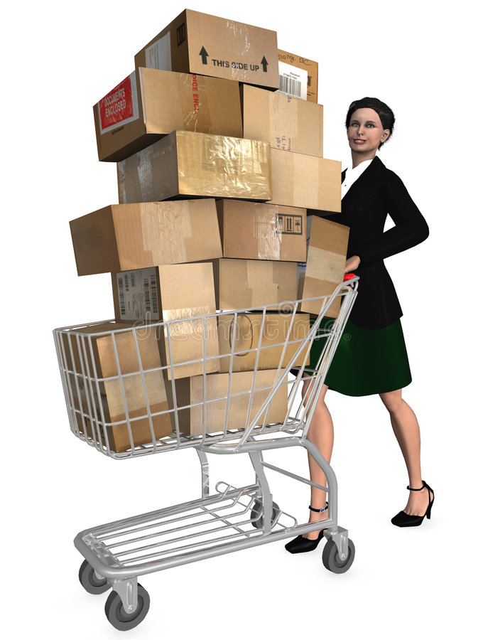 Shopper Shopping Cart Shipping Stock Image