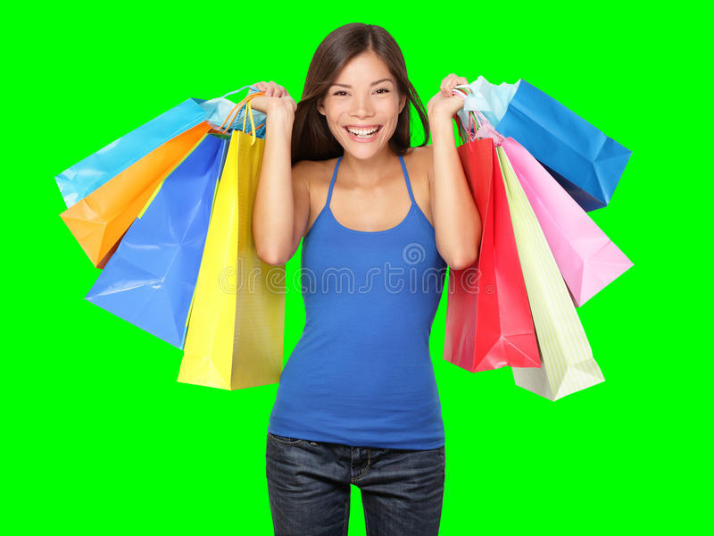 Shopper woman holding shopping bags royalty free stock images
