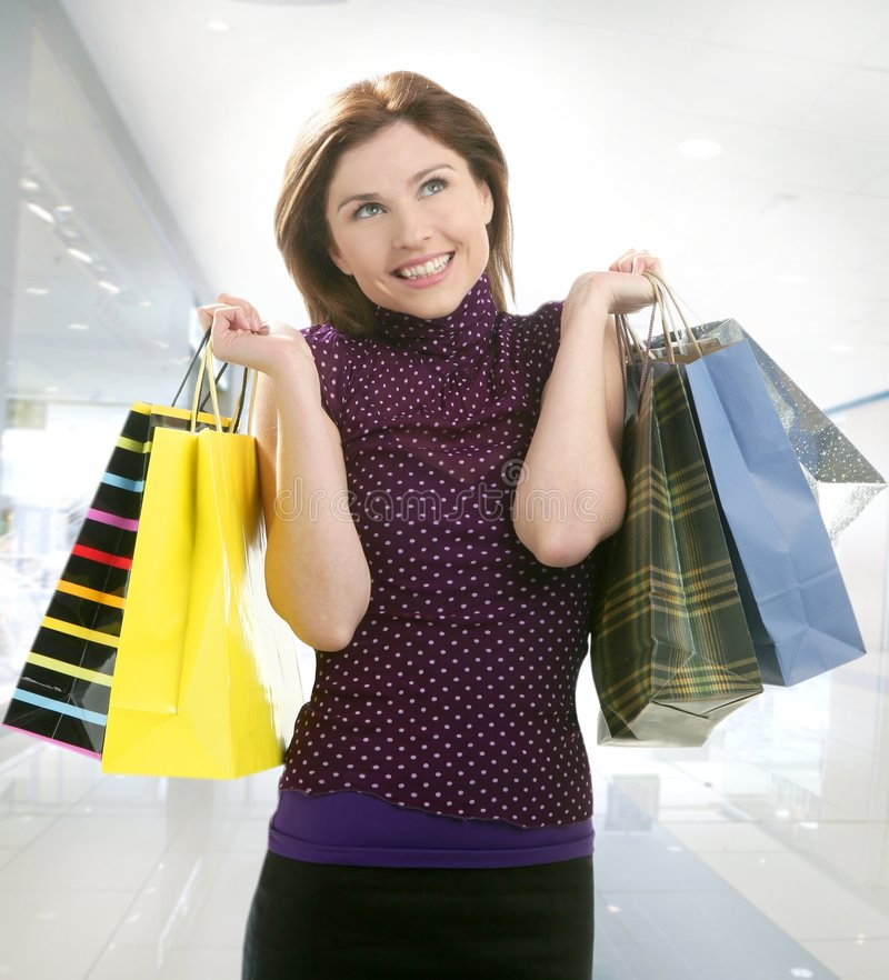 Shopper woman shopping on the city stock photo