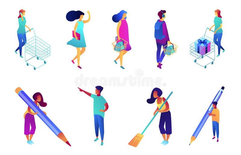 Shopper and writer isometric 3D illustration set. vector illustration