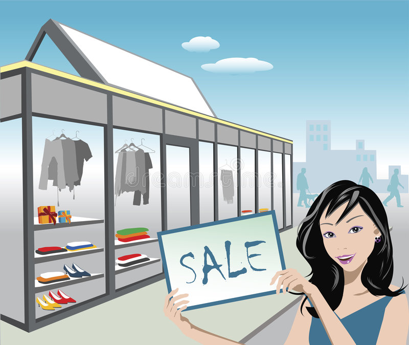 Shoppers royalty free illustration